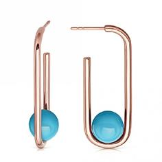 Turquoise Marcel Oval Hoop Earrings