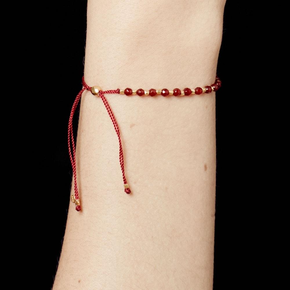 Garnet Skinny Biography Bracelet