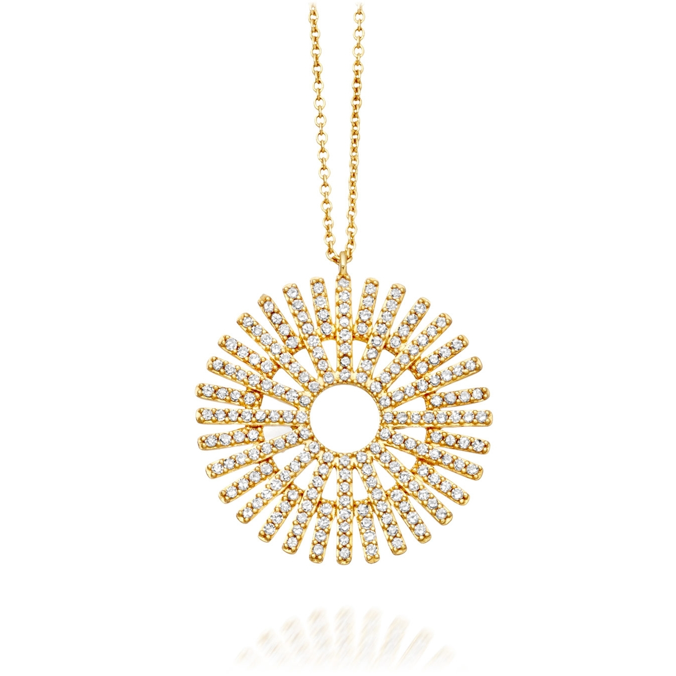Large Rising Sun Diamond Pendant Necklace
