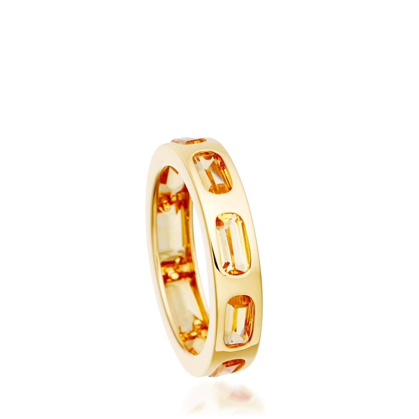 Citrine Prismic Slice Ring