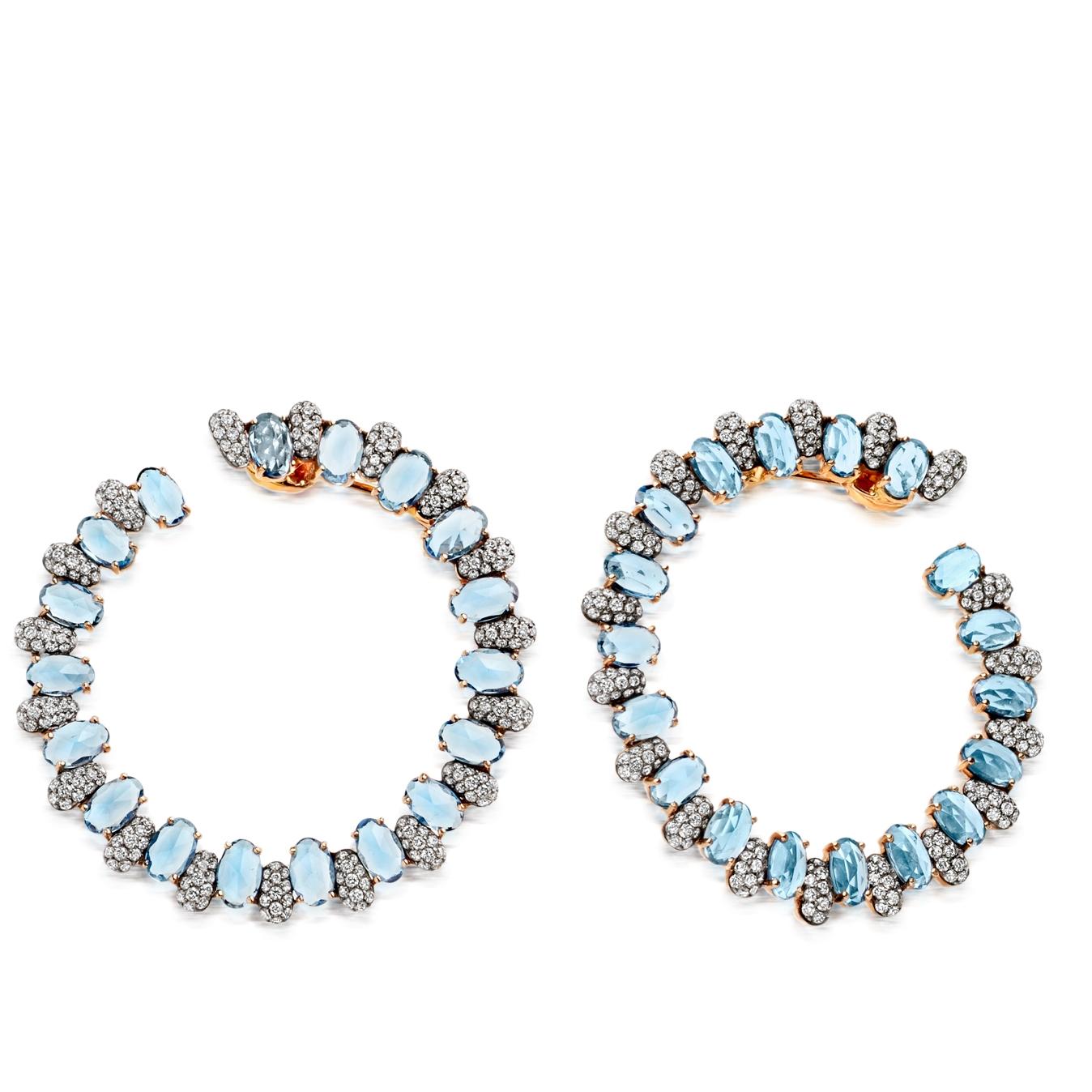 Santa Maria Aquamarine Fao Hoop Earrings