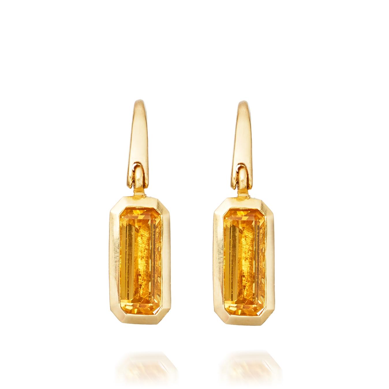 Citrine Prismic Drop Earrings