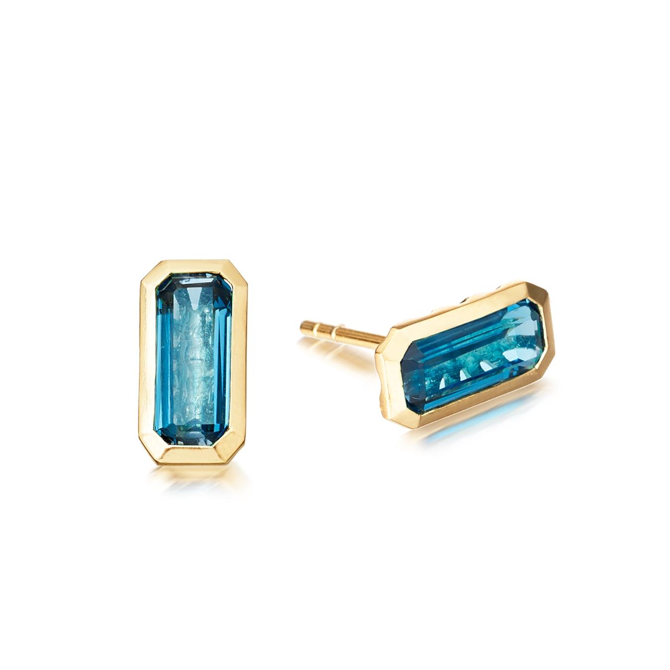 London Blue Topaz Prismic Stud Earrings