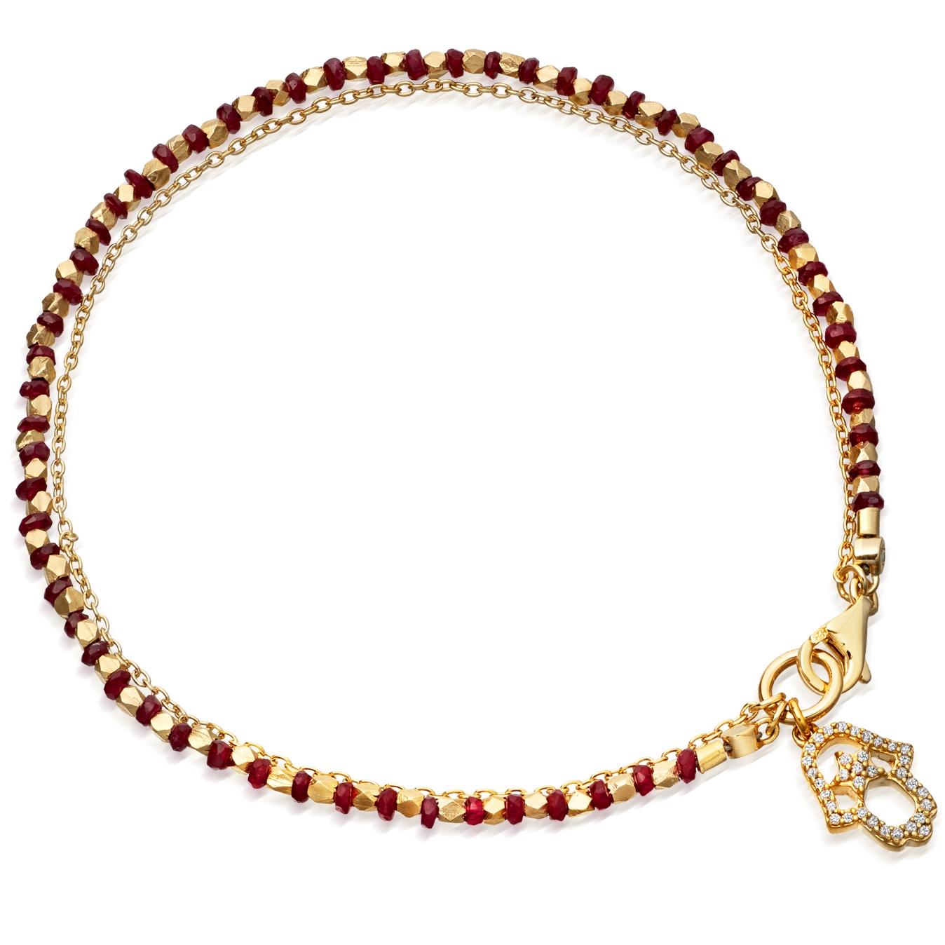 Ruby Hamsa Fine Biography Bracelet
