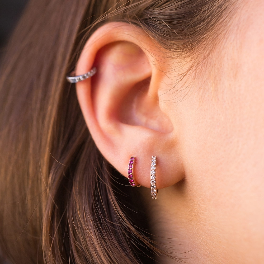 Mini Halo Pink Sapphire Single Hoop Earring