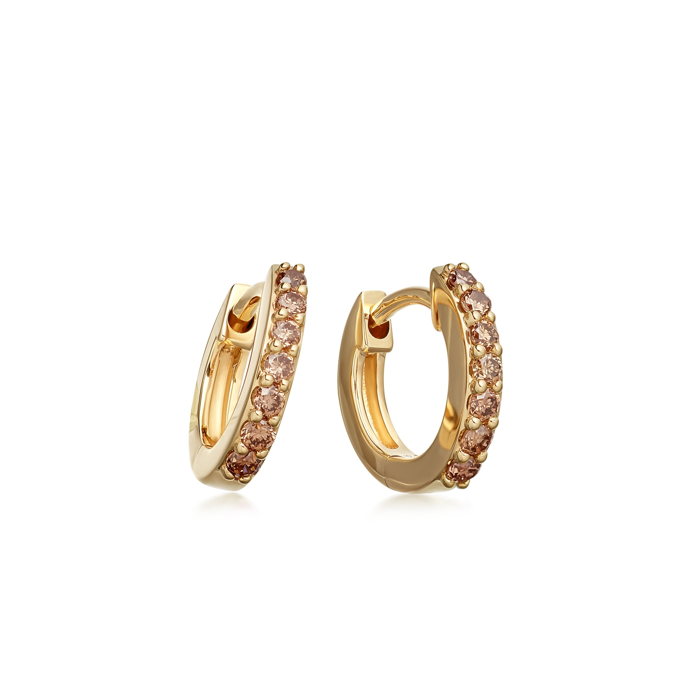 Cognac Diamond Mini Halo Hoop Earrings