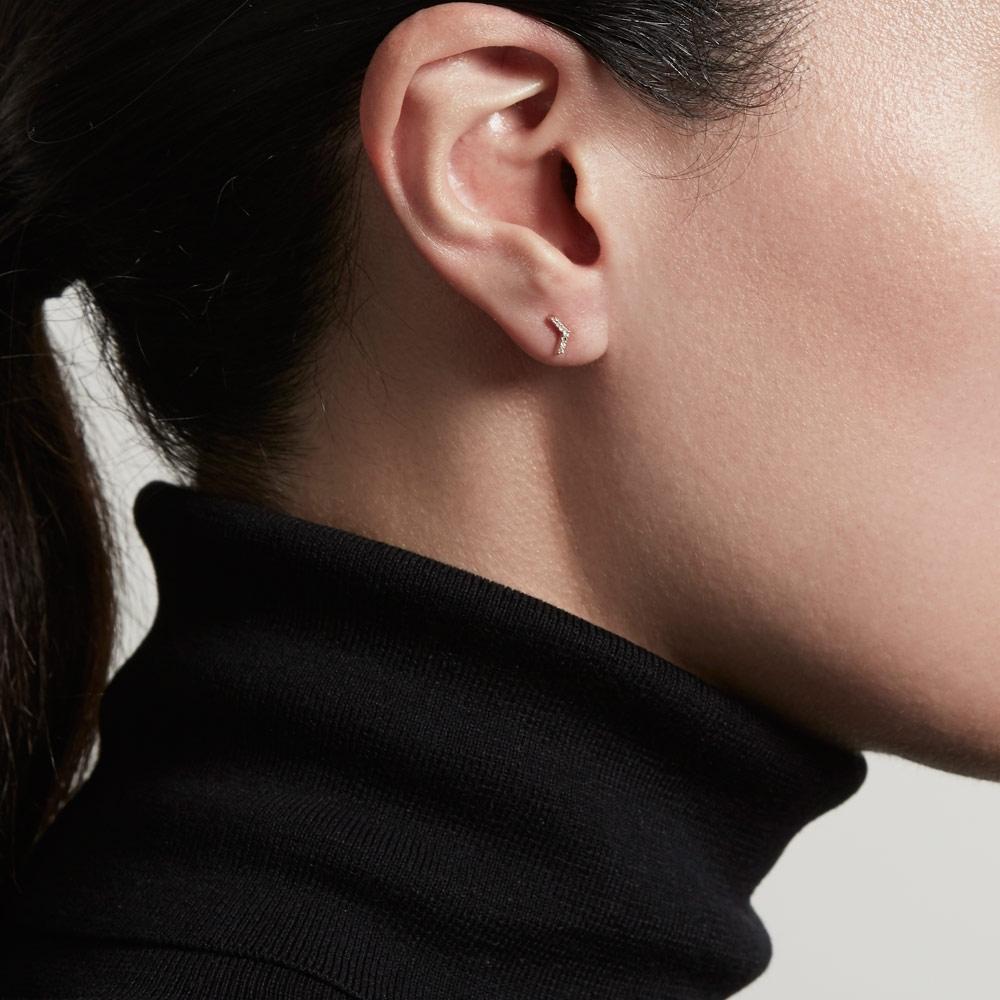 Varro Honeycomb Diamond Single Stud Earring