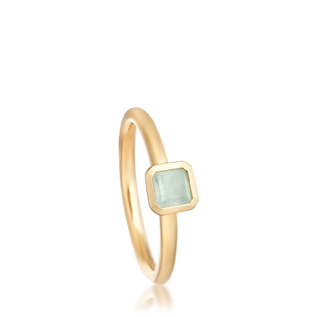 Aqua Quartz Square Prismic Ring