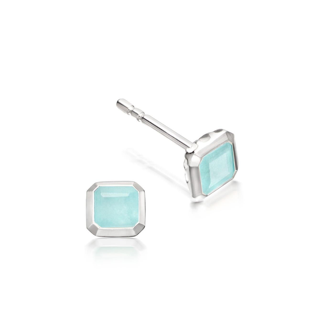 Aqua Quartz Square Prismic Stud Earrings