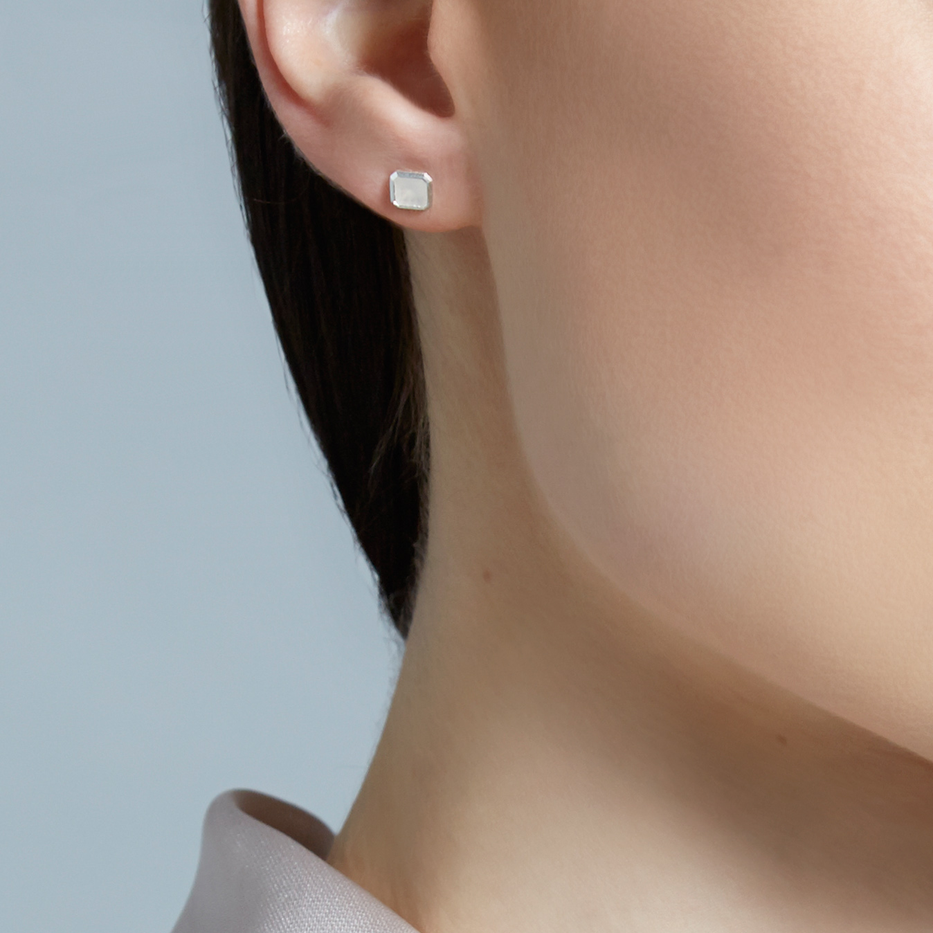 Moonstone Square Prismic Stud Earrings