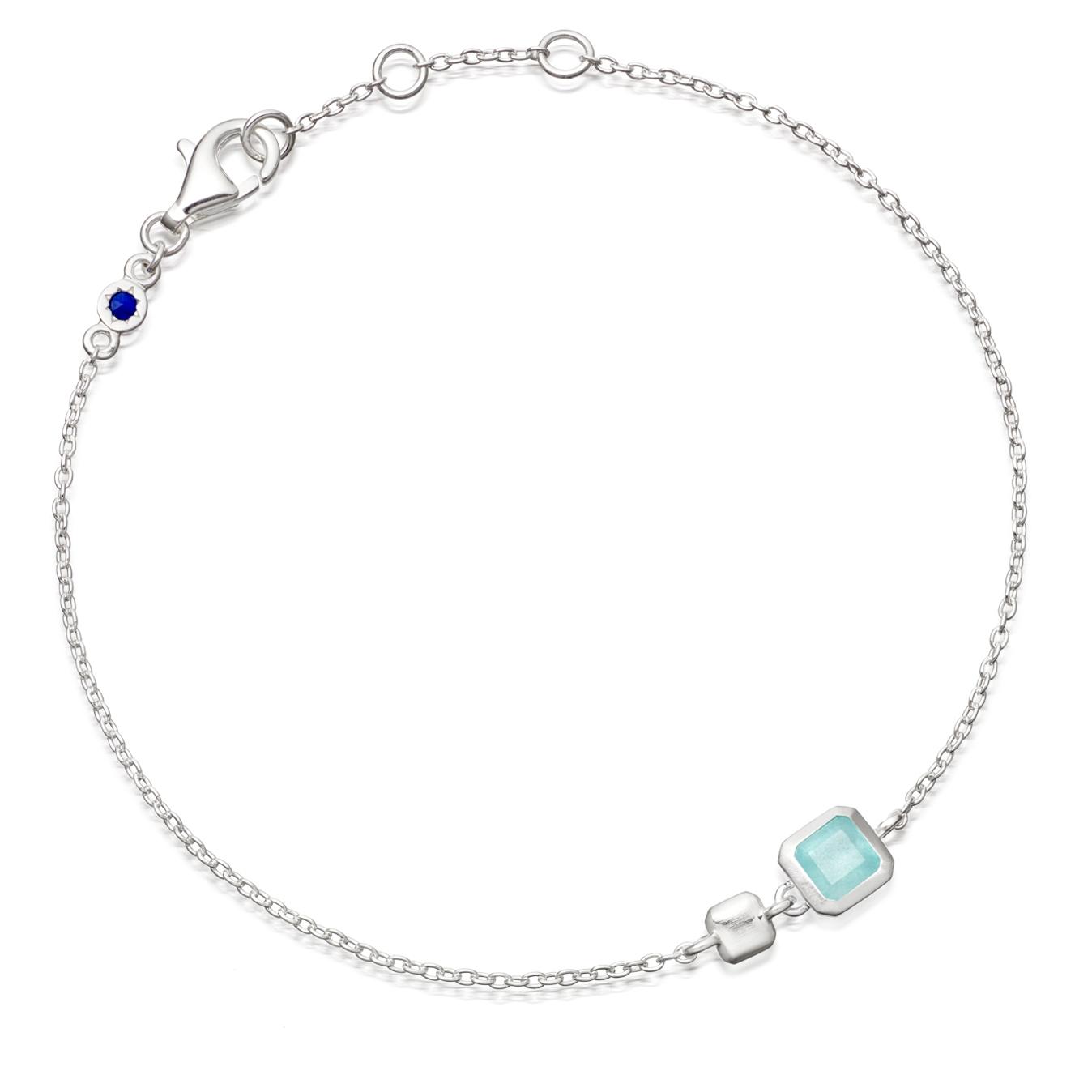 Aqua Quartz Square Prismic Bracelet