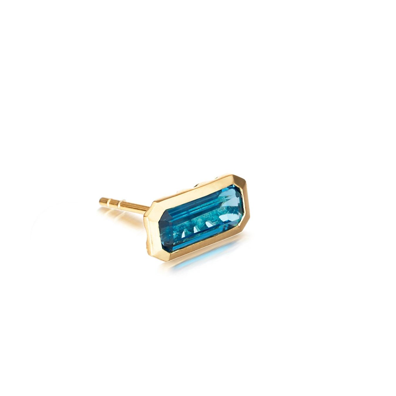 Single London Blue Topaz Prismic Stud Earring