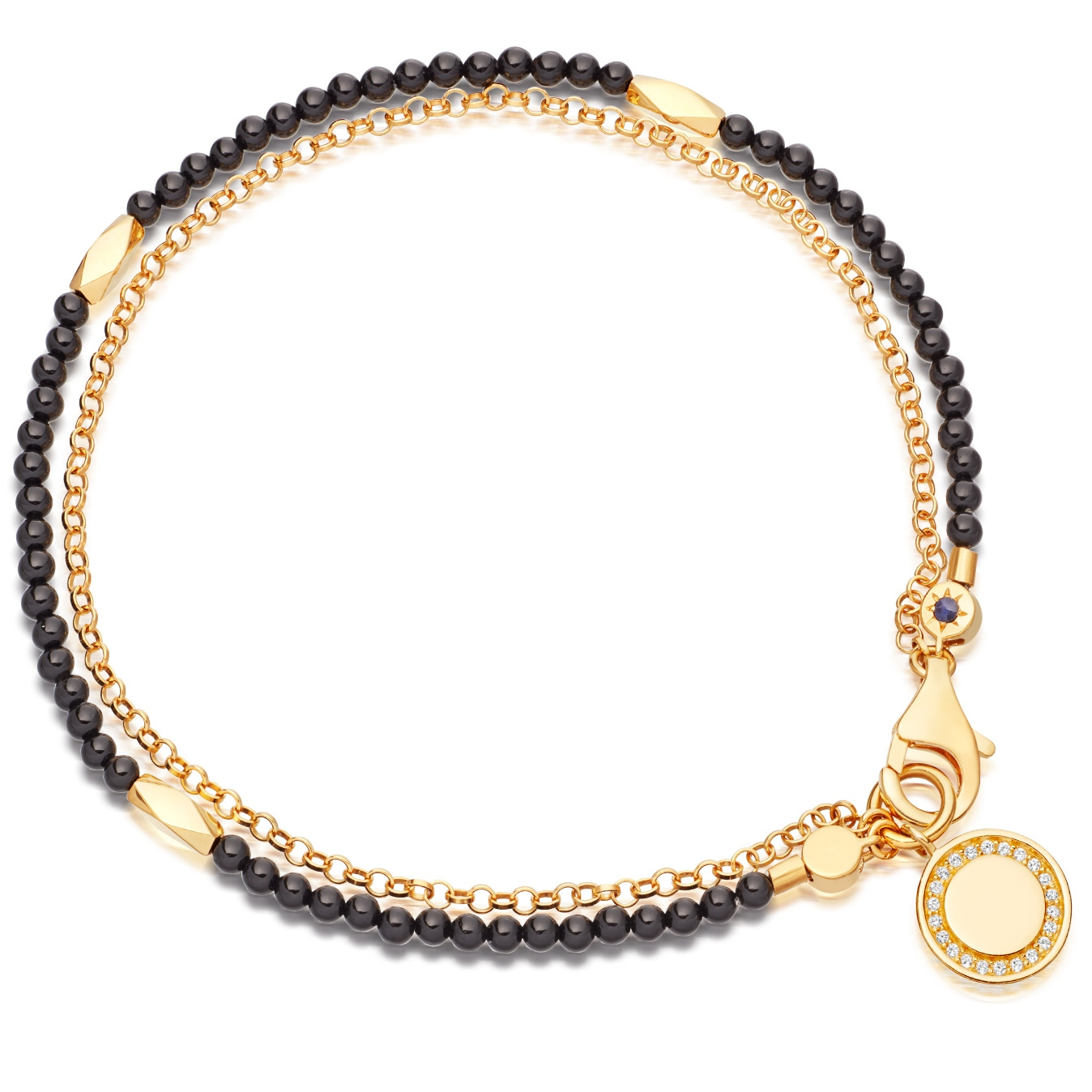 Black Onyx Faceted Nugget Biography Bracelet