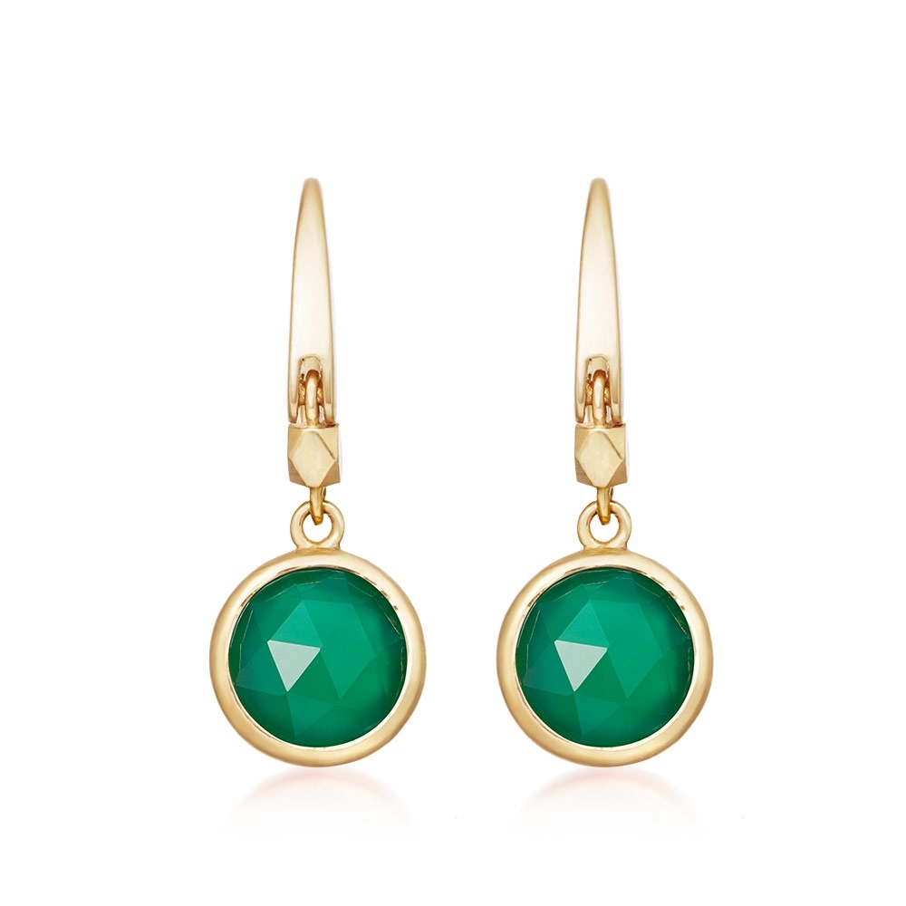 Mini Round Stilla Green Onyx Earrings