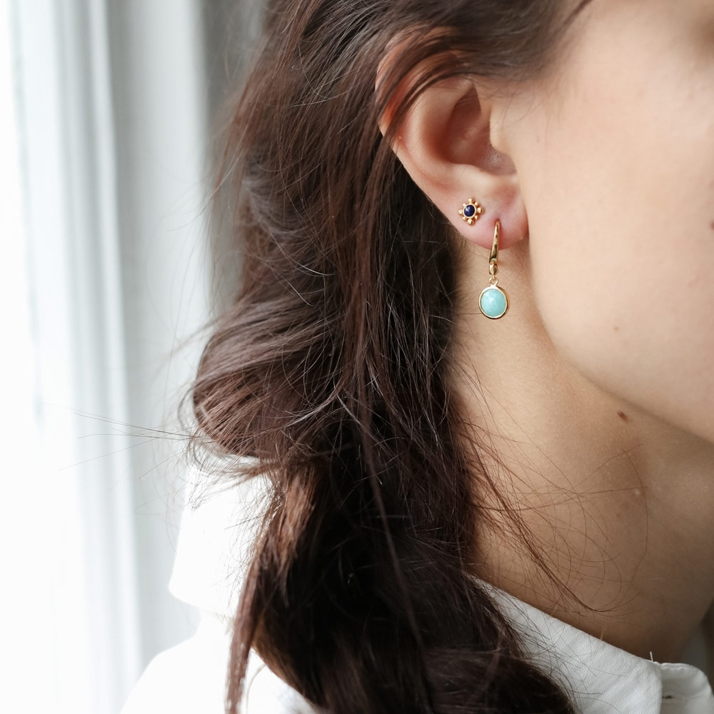 Mini Round Stilla Amazonite Earrings