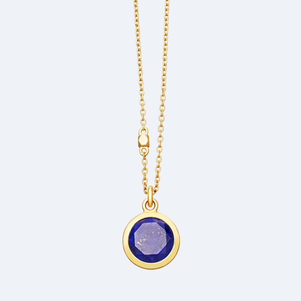 Round Stilla Lapis Lazuli Pendant Necklace
