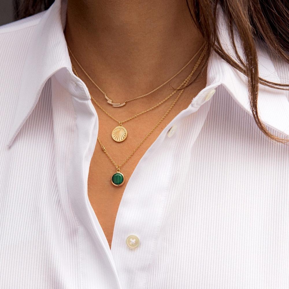 Round Stilla Malachite Pendant Necklace