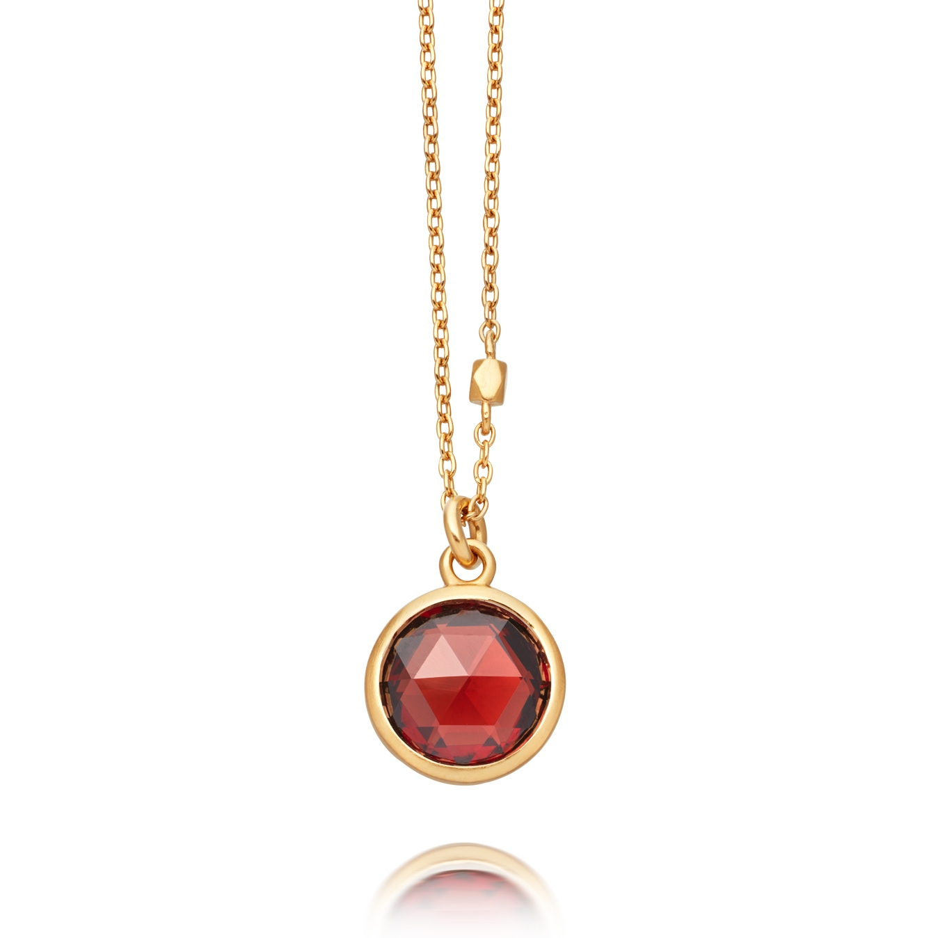 Round Stilla Red Garnet Pendant Necklace