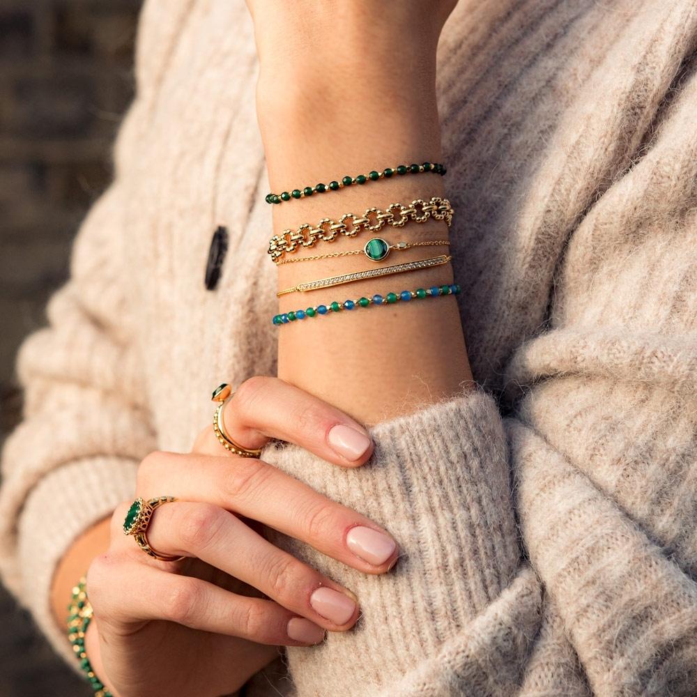 Mini Round Stilla Malachite Bracelet