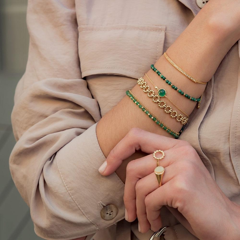 Mini Round Stilla Green Onyx Bracelet