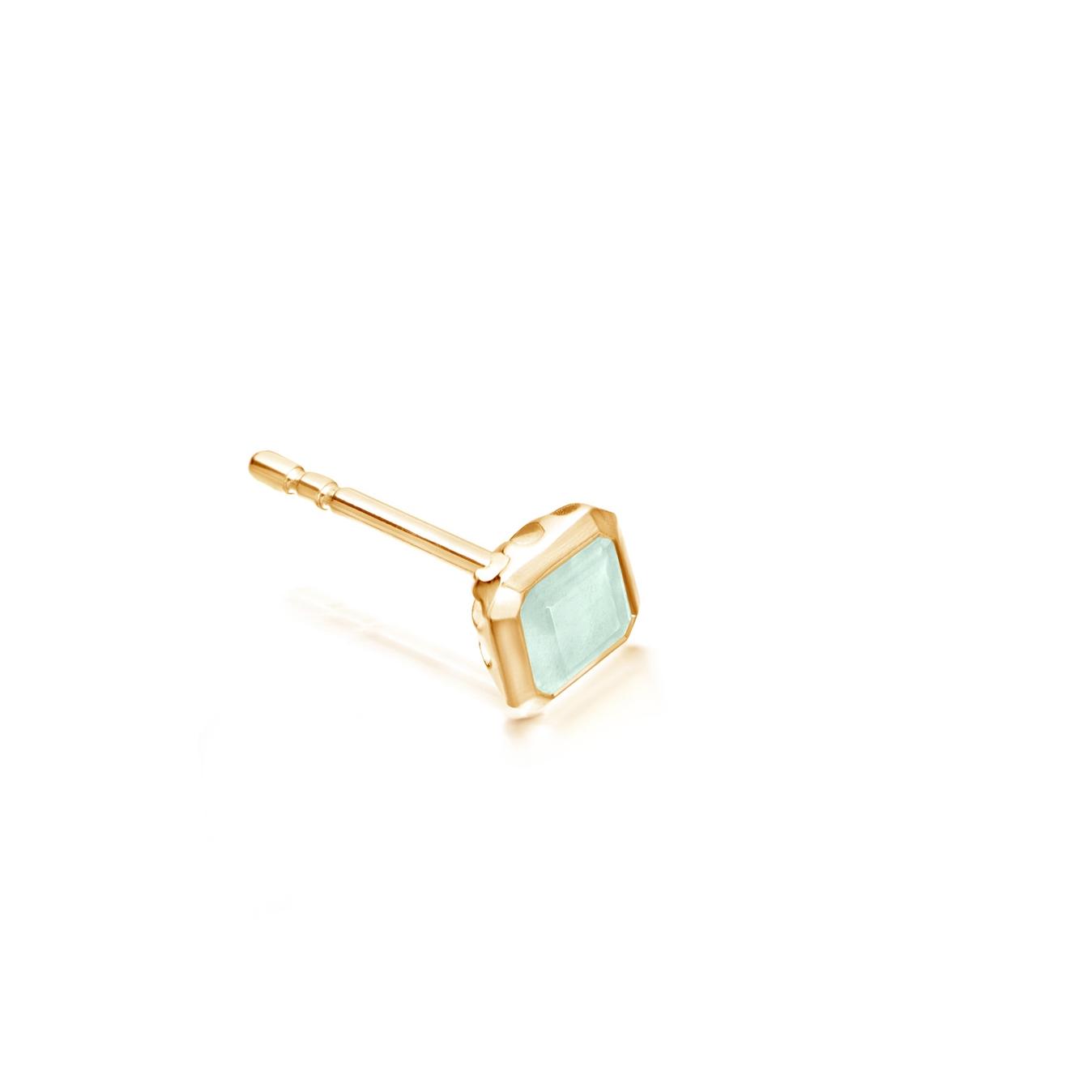 Aqua Quartz Square Prismic Single Stud Earring