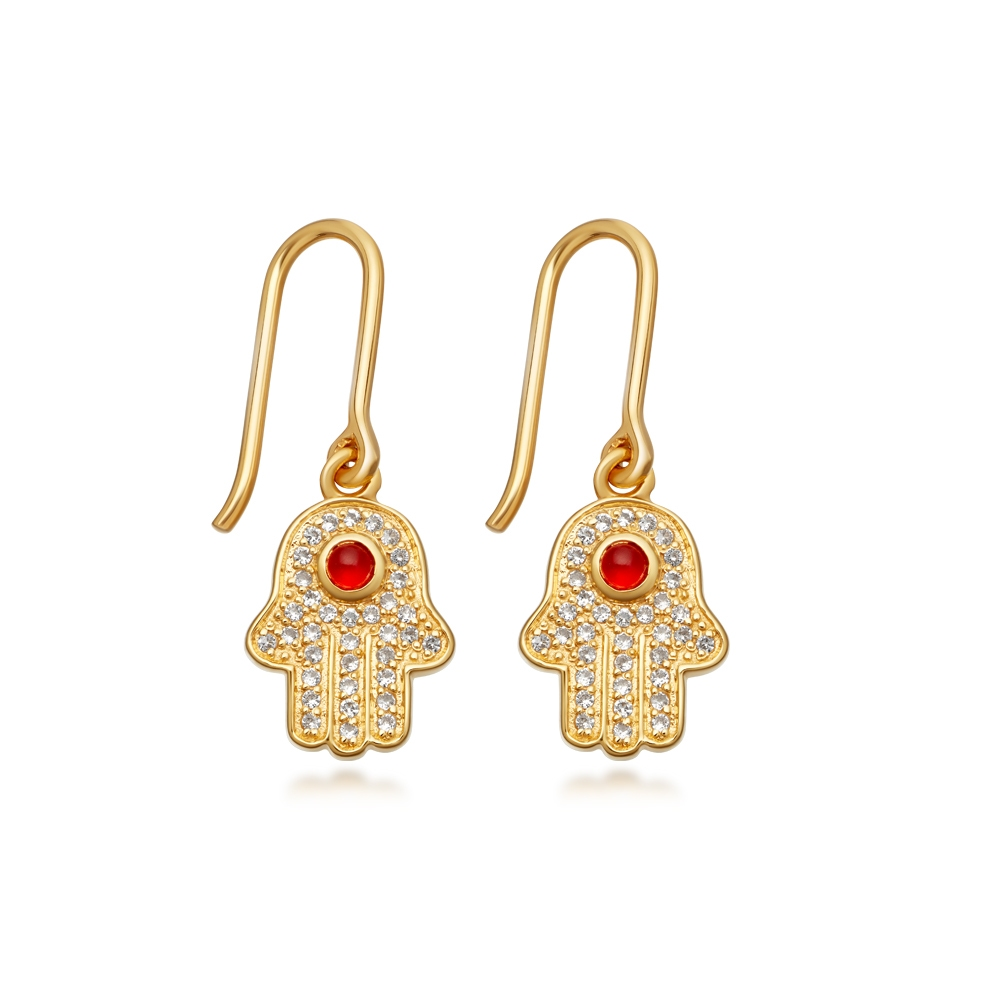 Hamsa Biography Drop Earrings