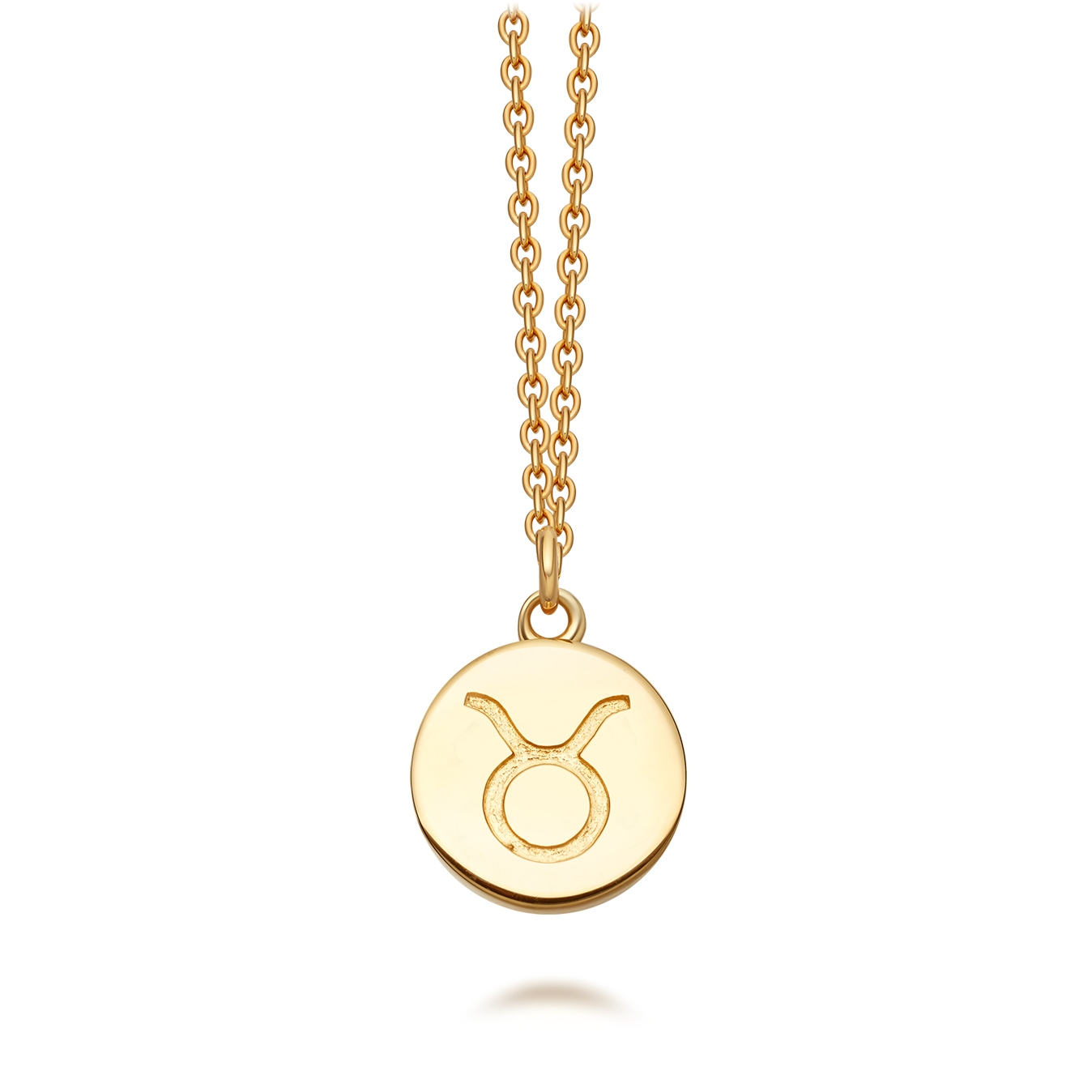 Gold Taurus Zodiac Biography Pendant Necklace