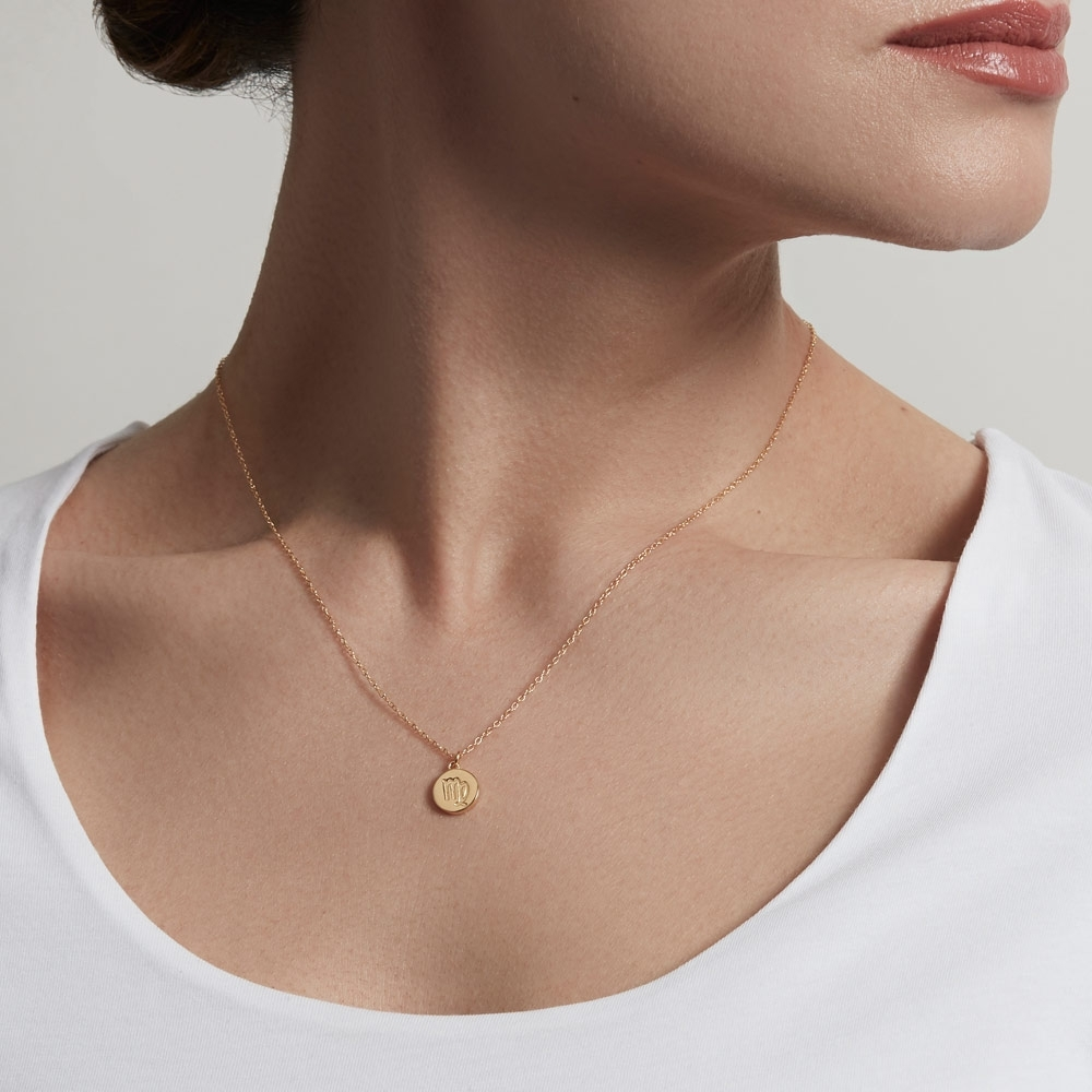 Gold Virgo Zodiac Biography Pendant Necklace