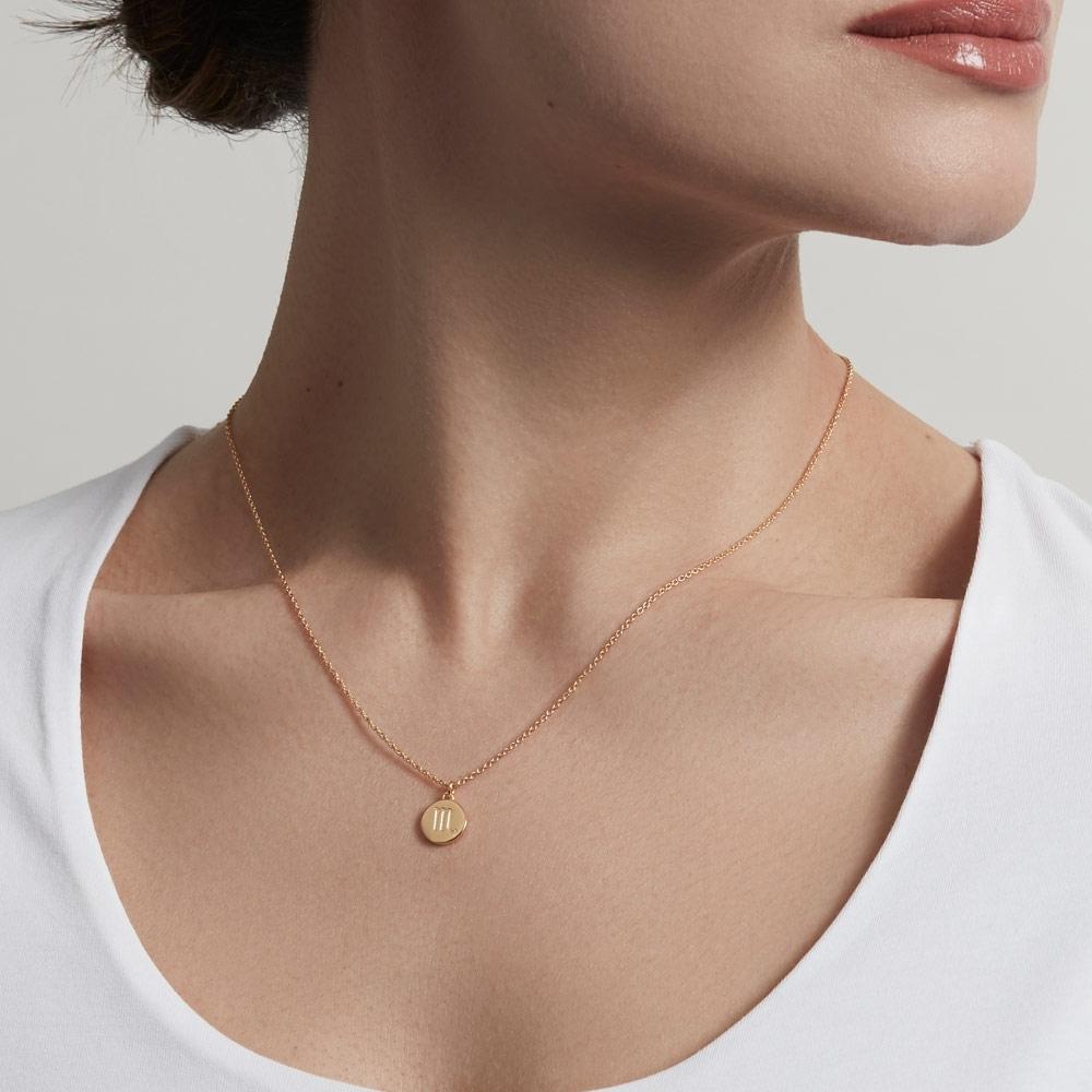 Gold Scorpio Zodiac Biography Pendant Necklace