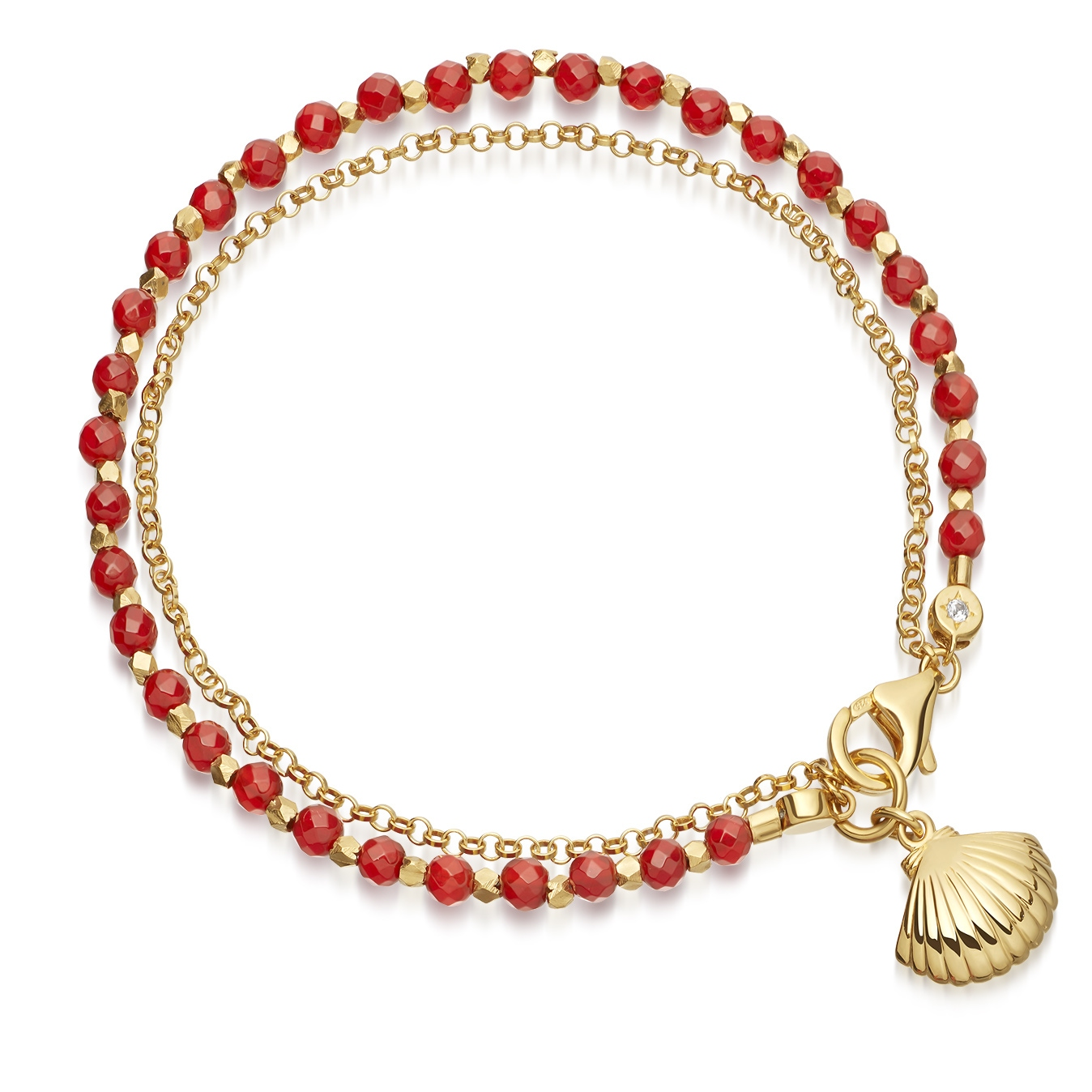 Red Agate Shell Biography Bracelet