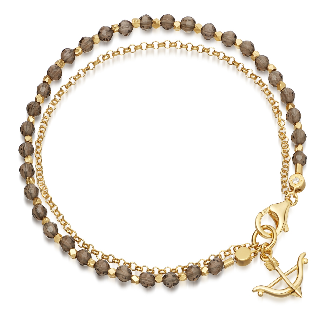 Smoky Quartz Bow and Arrow Biography Bracelet