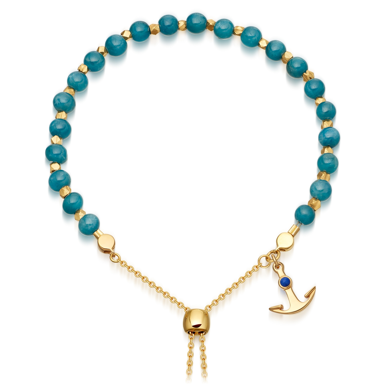 Blue Apatite Super Kula Anchor Bracelet