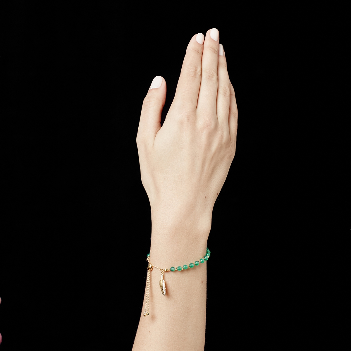 Green Onyx Super Kula Feather Bracelet