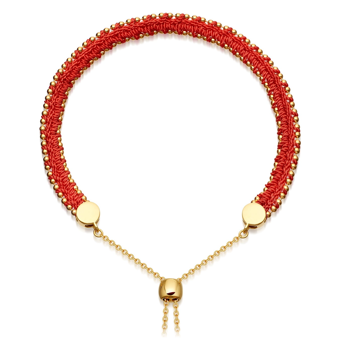 Hot Coral Woven Kula Biography Bracelet