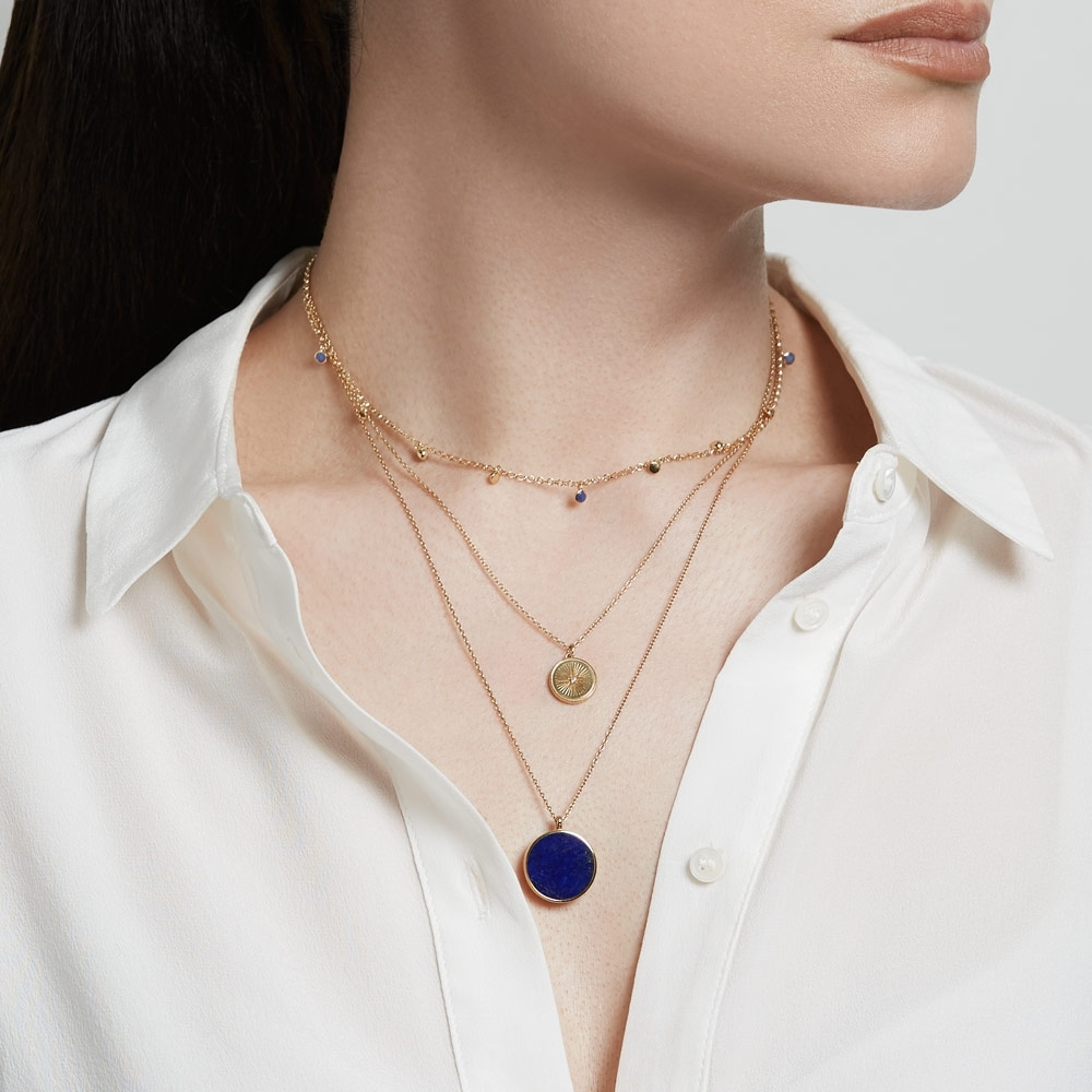 Stilla Gold Lapis Lazuli Locket Necklace