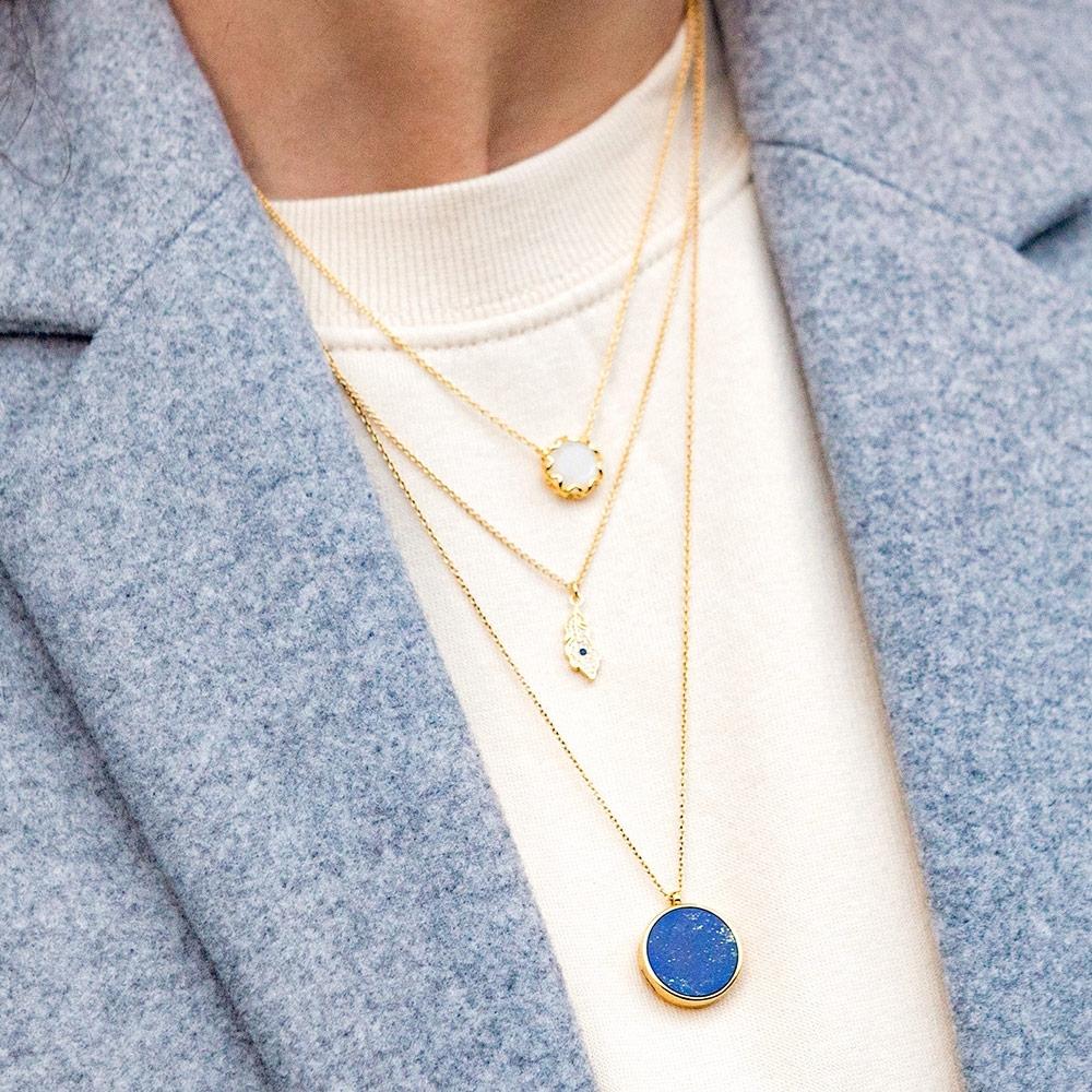 Lapis Slice Stilla Locket Necklace
