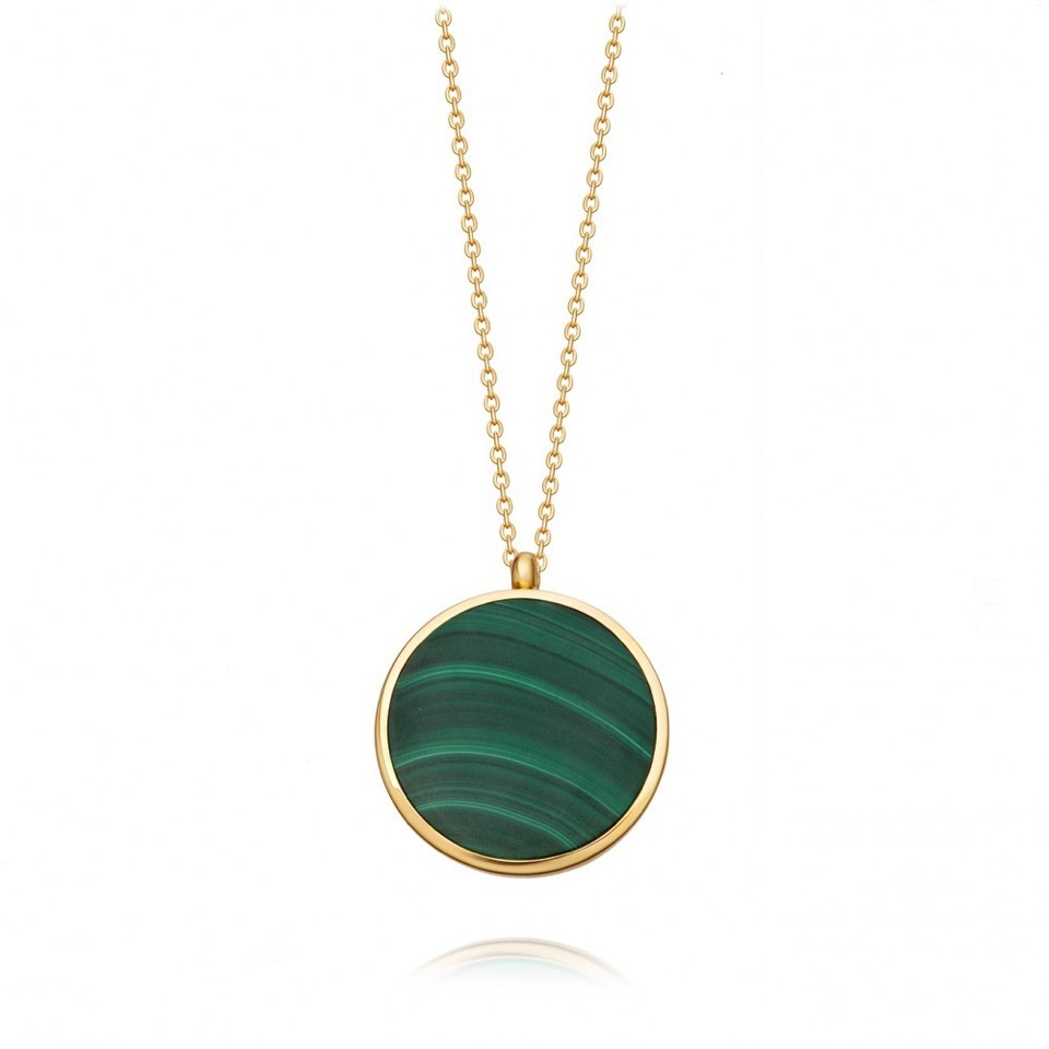 Stilla Gold Malachite Locket Necklace