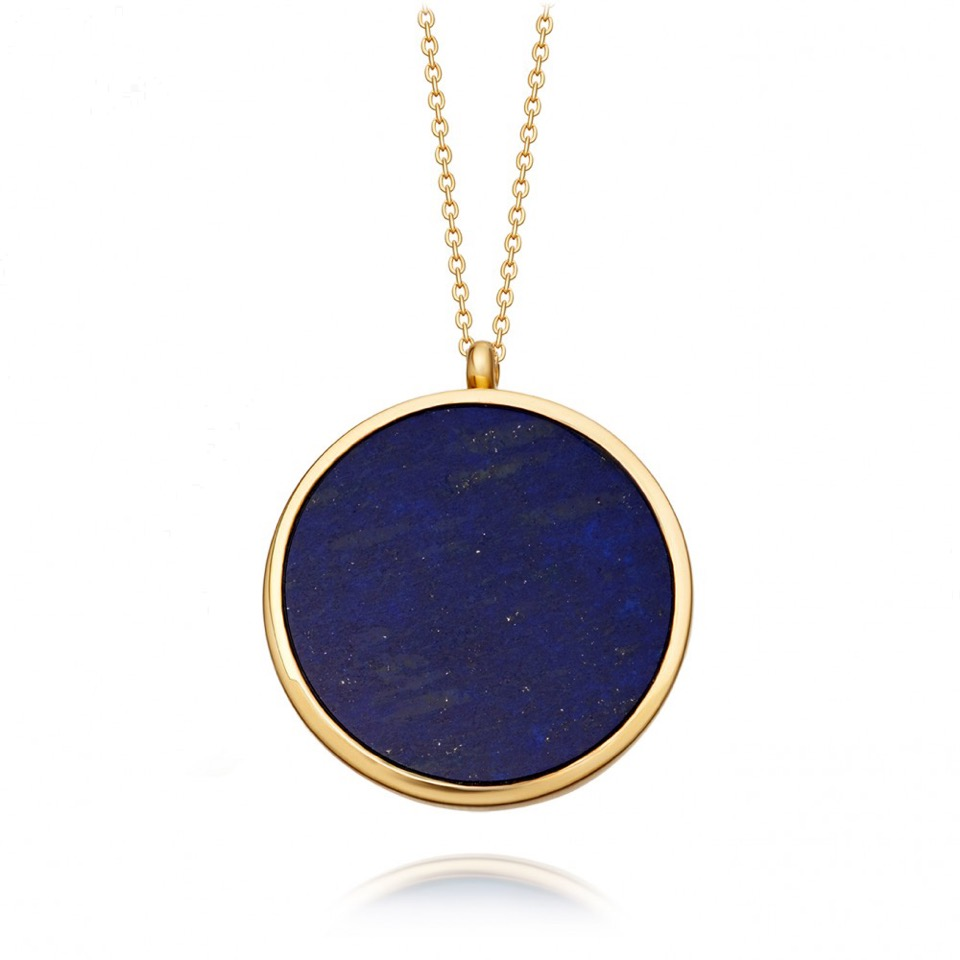 Large Lapis Slice Stilla Locket Necklace