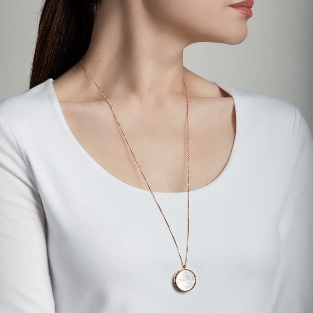 Stilla Large Gold Mother of Pearl Locket Necklace
