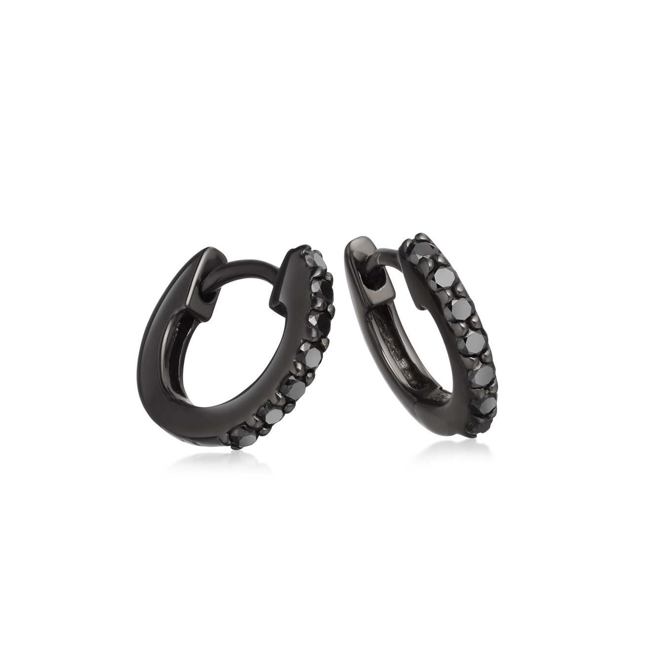 Black&Black Mini Halo Hoop Earrings