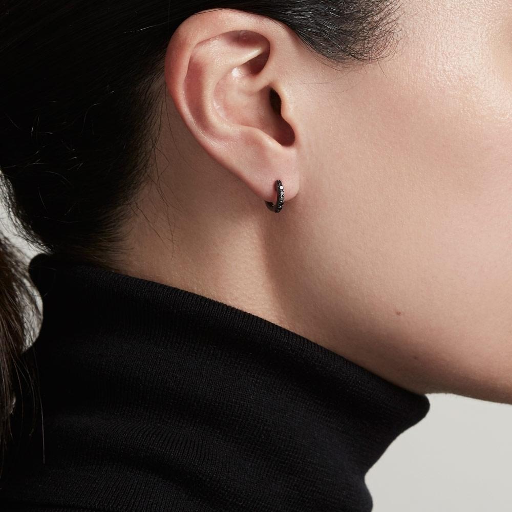 Mini Halo Black Diamond Hoop Earrings