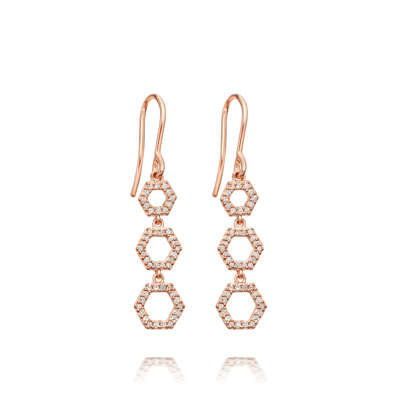 Triple Honeycomb Drop Earrings