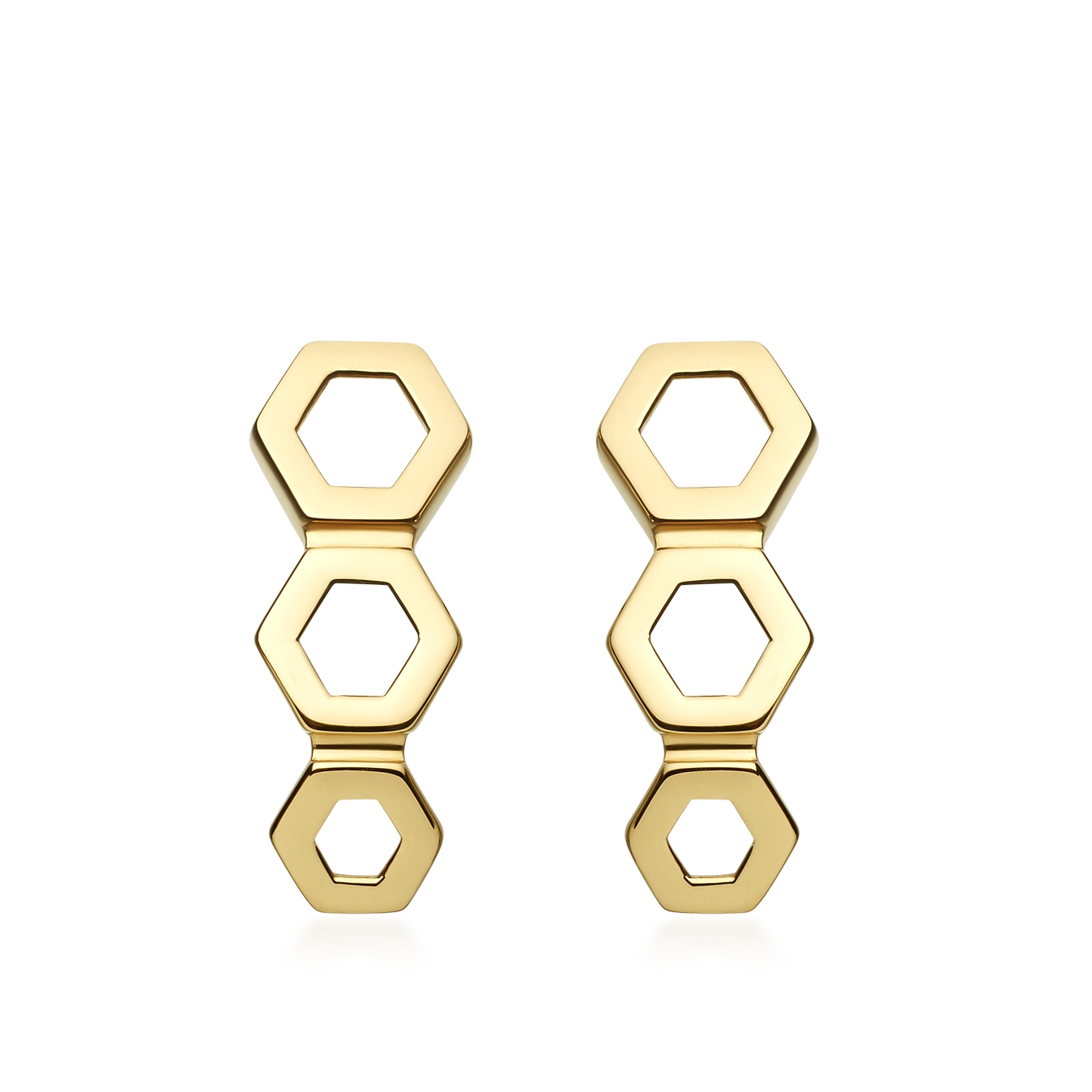 Plain Triple Honeycomb Stud Earrings