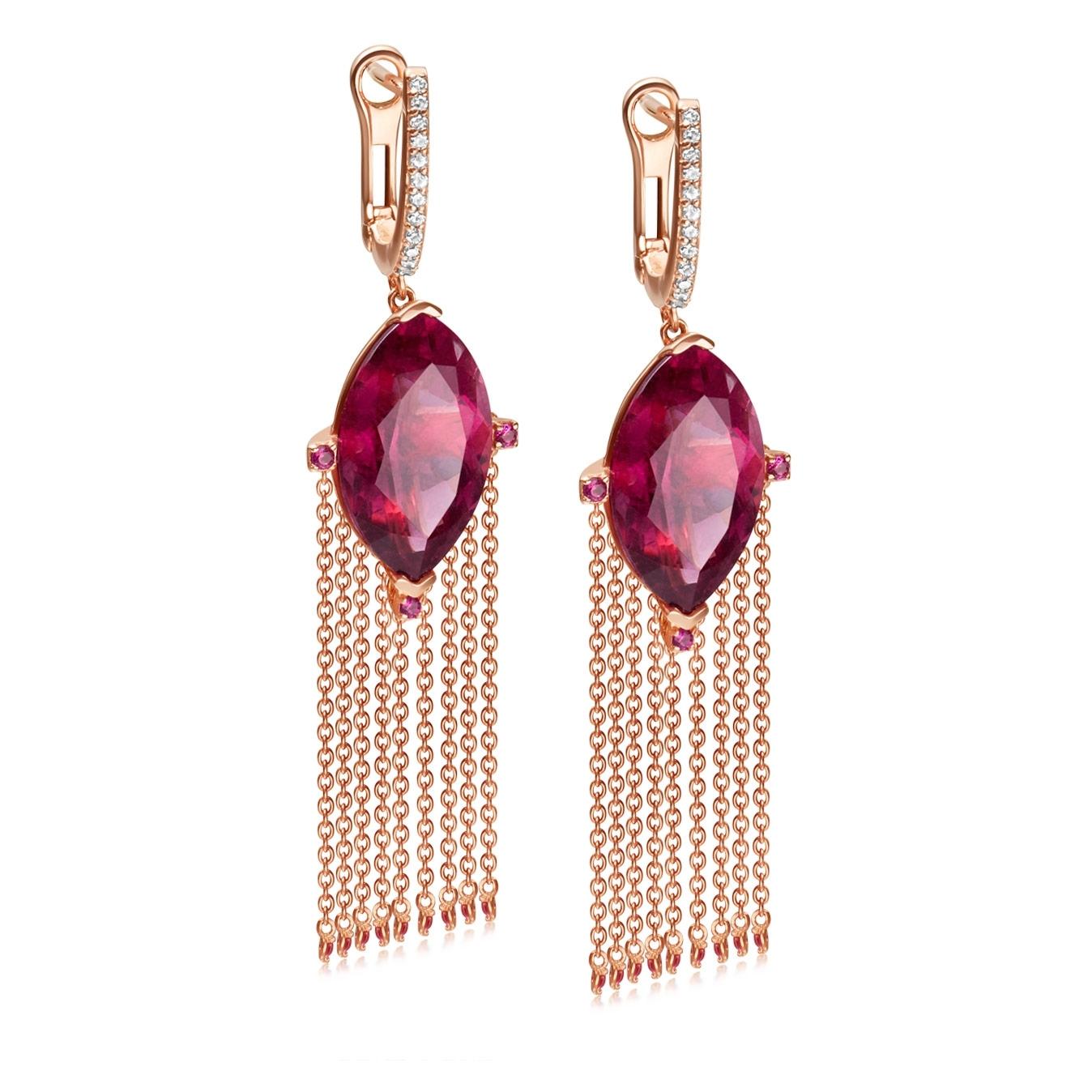 Rubelite Drop Earrings