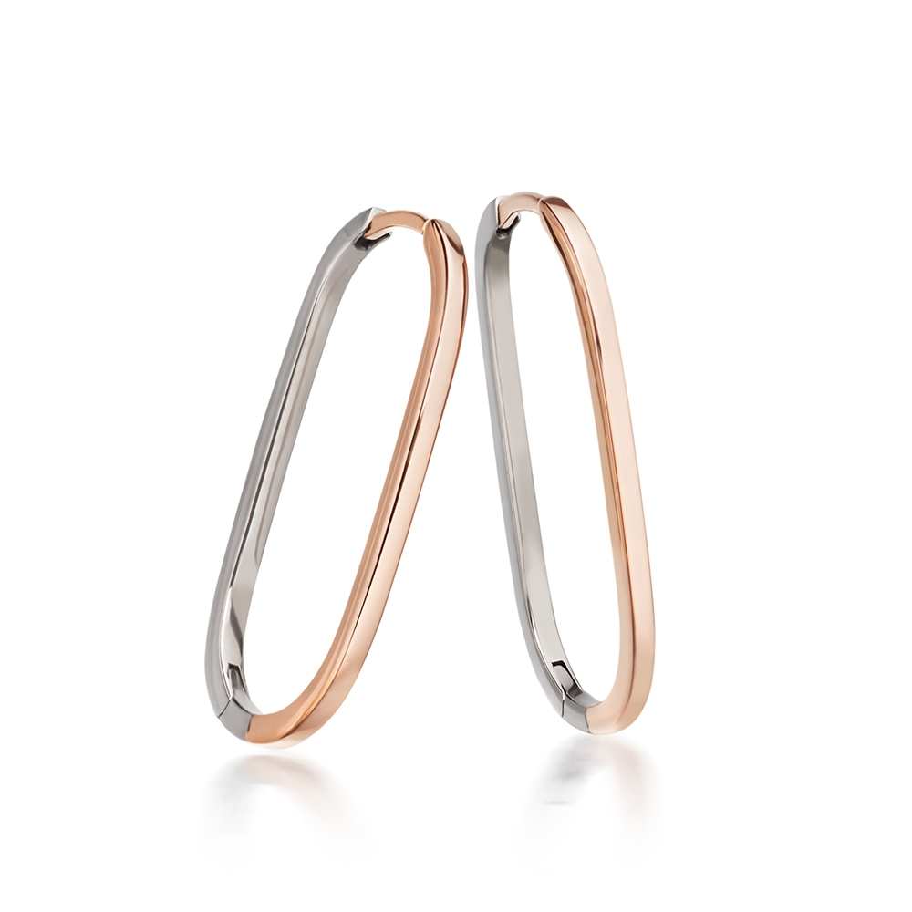 Bi-Piet Oval Hoop Earrings