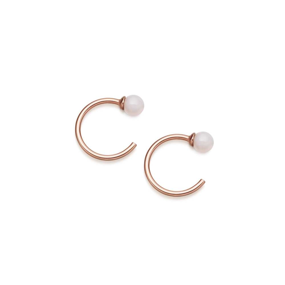Pink Opal Ezra Stud Hoop Earrings