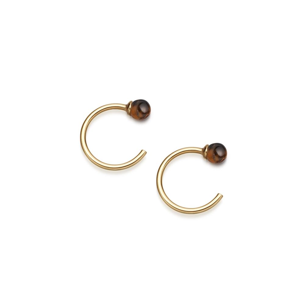Tigers Eye Ezra Stud Hoop Earrings