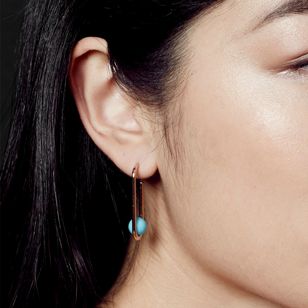 Turquoise Marcel Oval Hoop Earrings