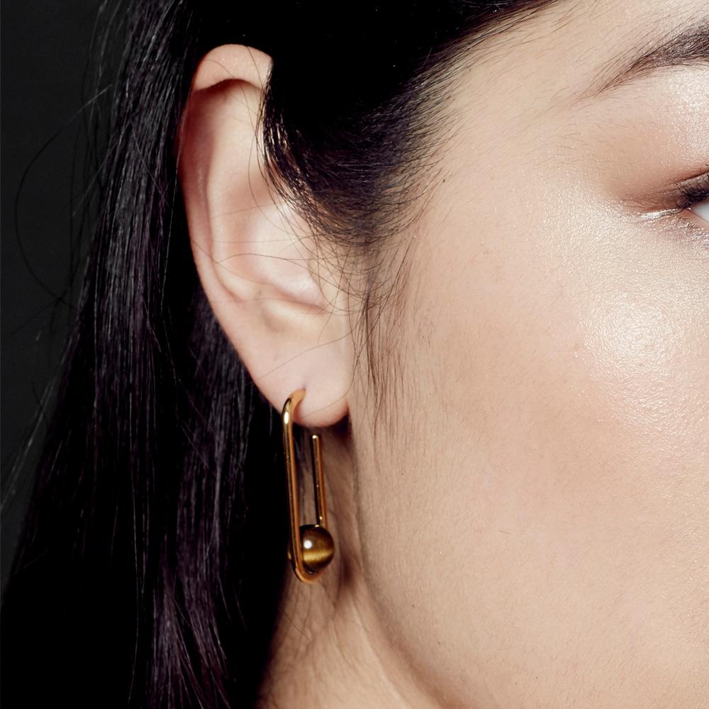 Marcel Tigers Eye Oval Hoop Earrings