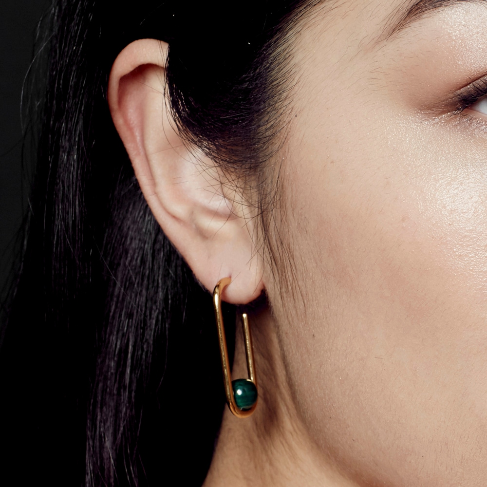 Malachite Marcel Hoop Earrings